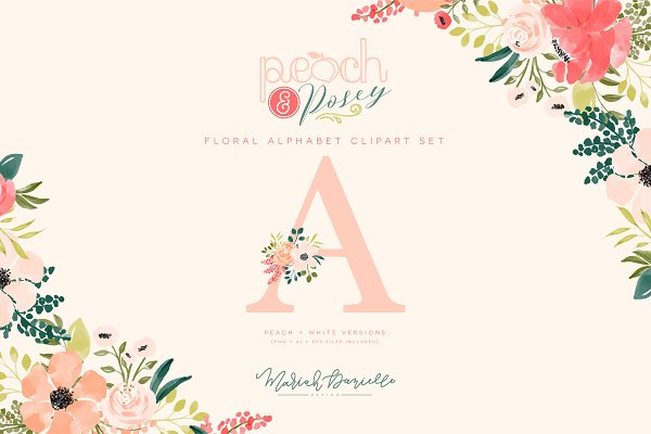 Illustrations and Illustration Products: Mariah Danielle Design - Flower Alphabet Bundle Peach & Posey