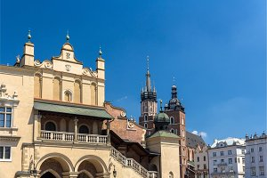 Sukiennice and St. Mary Basilica in Krakow - Poland