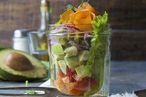 fresh salad and bottled