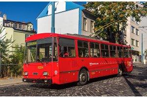 BRATISLAVA, SLOVAKIA - AUGUST 11: An old Skoda 14Tr10/6 trolleyb