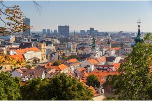View of Bratistava city center from Castle Hill - Slovakia