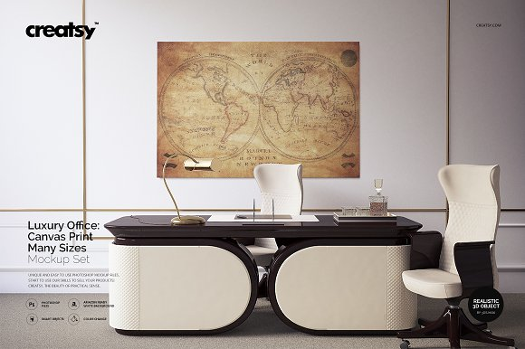 Download Luxury Office Canvas Prints Mockup