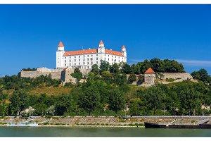 View of Bratislava Castle from the Danube river