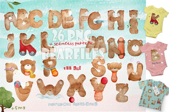 Watercolor ABC Cute Bear Letters
