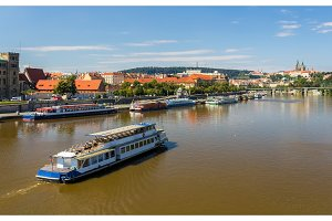 View of Vltava river in Prague, Czech Republic