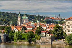 View St. Nicholas Church and Strahov Monastery in Prague