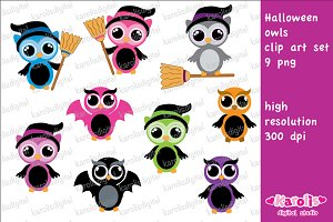 Halloween owls / clip art set