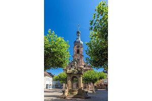 Fountain and Church of St. Alexander in Rastatt - Baden-Wurttemb