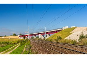 Overpass of new hi-speed railway LGV Est near Strasbourg - Franc