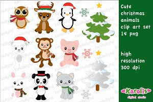 Christmas animals / clip art set