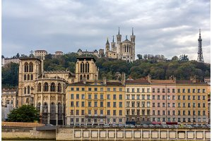 Cathedrale Saint Jean and Basilique Notre Dame de Fourviere in L