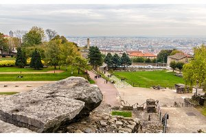 View of Lyon from Archaeological Site of Fourviere - France
