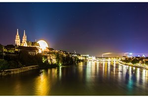 View of Basel over the Rhine by night - Switzerland