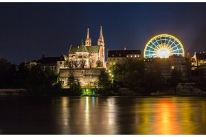 Basel Minster over the Rhine by night - Switzerland