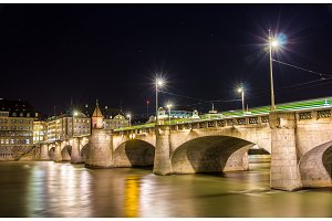 Mittlere bridge in Basel at night - Switzerland
