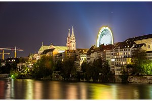 View of Basel embankment with the Cathedral - Switzerland