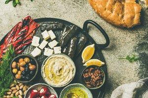 Mediterranean meze starter fingerfood platter in tray
