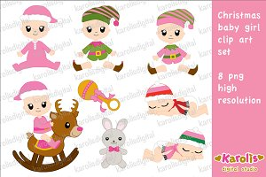 Christmas baby girl / clip art set