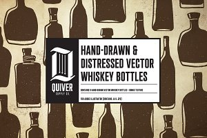 Hand-drawn whiskey bottles