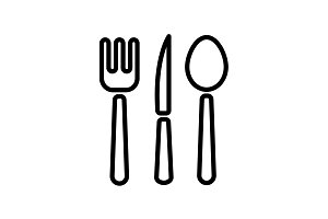 icon. Cutlery (spoon, fork, knife)