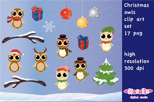 Christmas owls / clip art set
