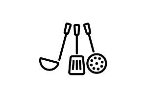 Web line icon. Ladle, skimmer black