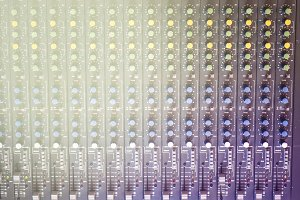 music recording console rack close up shot