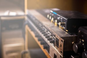 close up vintage sound equpment rack