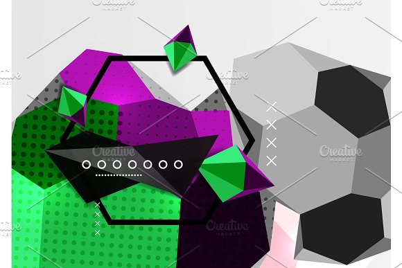 Color 3d geometric composition poster in Textures