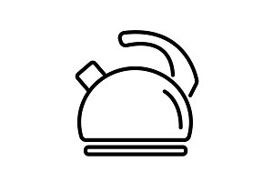 Web line icon. Kettle black on white