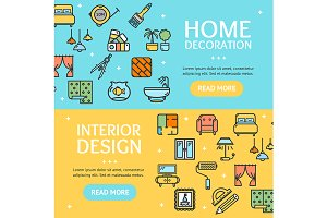 Home Decor Banner Set. Vector