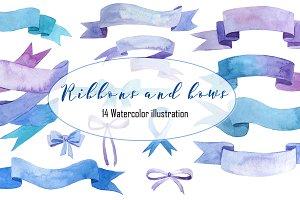 Ribbons and bows watercolor