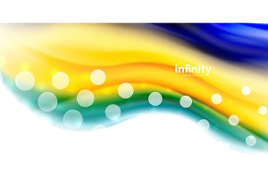 Vector flowing liqiud colors isolated on white, wave abstract background