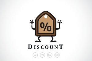 Discount Ticket Logo Template