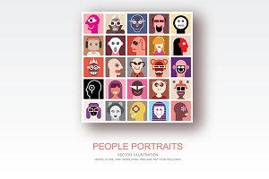 People Portraits vector flat style