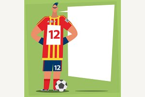 Soccer player tell us speech bubble