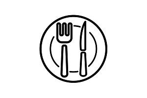 icon. Cutlery -plate, fork and knife