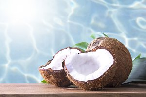 coconut open to natural on wooden bo