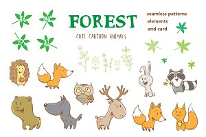 Cute forest animals.