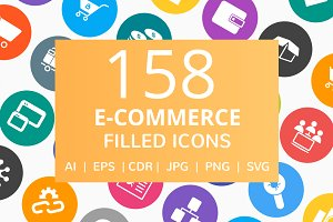 158 E-Commerce Filled Round Icons