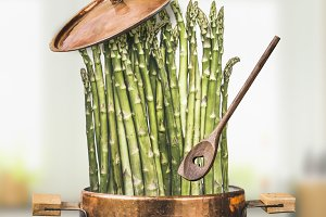 Asparagus in cooking pot