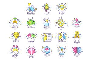 Mind energy original logo design set, creation and idea elements colorful vector Illustrations