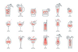 Set of alcoholic cocktails line art