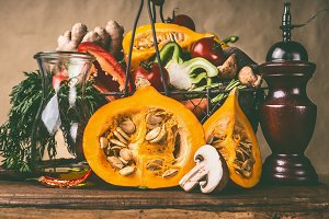 Pumpkin and basket of vegetables