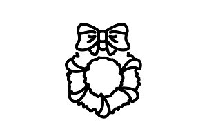 Web line icon. Christmas wreath