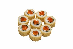 Roll sushi baked with caviar.
