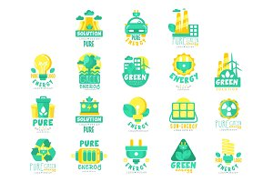 Alternative green energy sources logo set