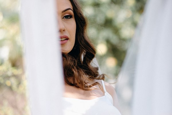 Bride's reflection in the mirror