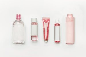 Pink natural cosmetic products