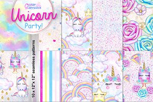 Unicorn Party Pattern collection